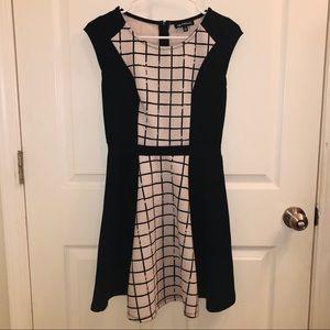 Sequin Hearts Black/White Grid Print Skater Dress